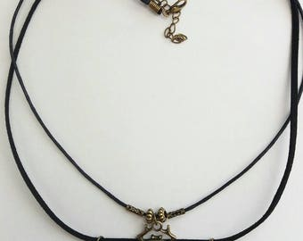 Egyptian Scarab Beetle God Khepri, symbol of rebirth Antique Bronze Pendant necklace on double cords. Egyptian jewellery gift