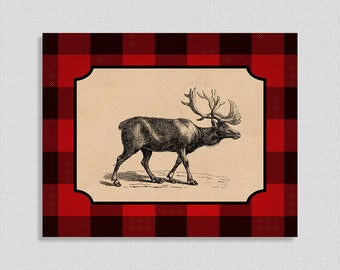 Red Flannel Moose Digital Art Print, Plaid Moose Wall Art, Cabin Style Home Decor, Lumberjack, 8x10, INSTANT PRINTABLE