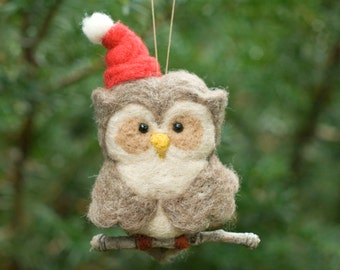 Needle Felted Owl Ornament - Santa