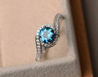 November birthstone ring, anniversary ring, London blue topaz ring, round cut ring, gemstone ring, sterling silver ring