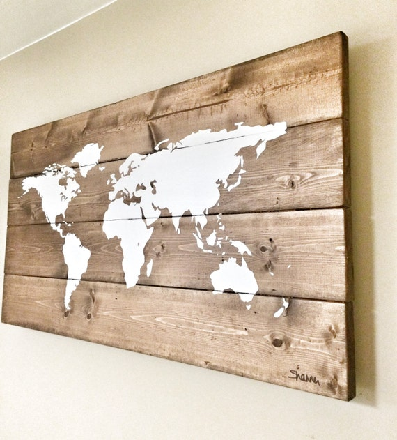 Rustic wood world map rustic decor farmhouse decor rustic rustic wood world map rustic decor farmhouse decor rustic nursery decor wall decor wooden white world map 26 x 14 gumiabroncs Gallery