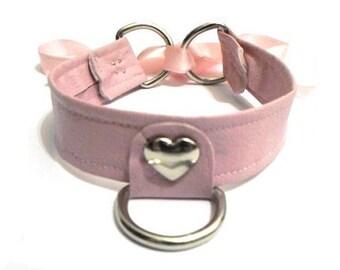 BDSM Heart Collar Pink Pastel Choker