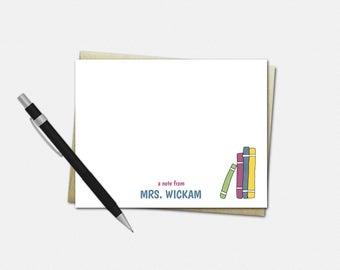 Stack of Books Note Cards - Personalized Note Cards for Teachers - Teacher Gifts - Set of 10 - Flat Note Cards - Teacher Stationery