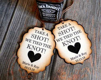 Take a SHOT We Tied the KNOT - Rustic Wedding Guest Favor Tags - Custom Gift Tags - Personalized Favors