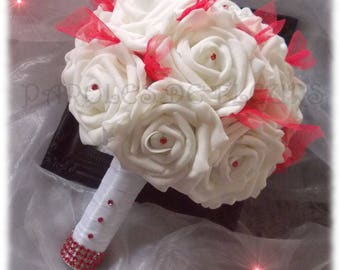 Bouquet of white roses, accompanied by Red tulle and Red rhinestones