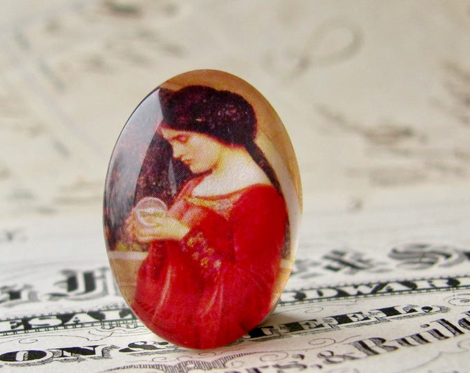 "John William Waterhouse ""The Crystal Ball"" 25x18mm glass oval cabochon, artisan crafted in this shop, Art History collection, photo glass"