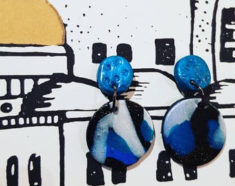 Blue polymer clay earrings handmads