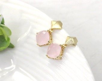 pink earrings, Pink Crystal earring, Silver Post, bridesmaid gifts, wedding jewelry, glass earring