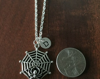 Spider Web initial necklace, Spider Web jewelry, silver necklace, Cob Web necklace,  arachnophilia necklace, arachnophilia jewelry NS-221