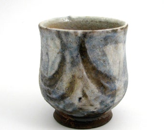 Wood Fired Stoneware Yunomi with Shino Glaze and Loop Motif