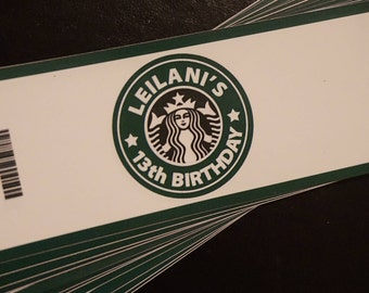 Starbucks Inspired - Caffeine - Coffee Lover - Personalized Water Bottle Label 24ct or DIGITAL
