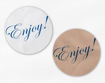 Enjoy Wedding Favor Stickers - Custom Navy Blue Candy Buffet White Or Kraft Round Labels for Bag Seals, Envelopes, Mason Jars (2008)