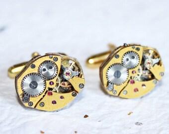BULOVA Steampunk Cufflinks - Matching Luxury Gold PETITE Vintage Jeweled Watch Movement - Men Jewelry Gift Wedding Gift Men Wedding Gift