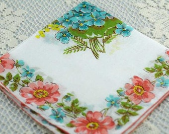 Peach and Turquoise Vintage Hankie  for Collecting, Framing, Sewing, Quilting F-39