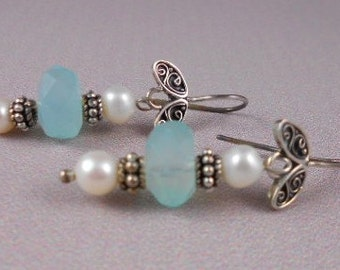 Aquamarine & Pearl Earrings