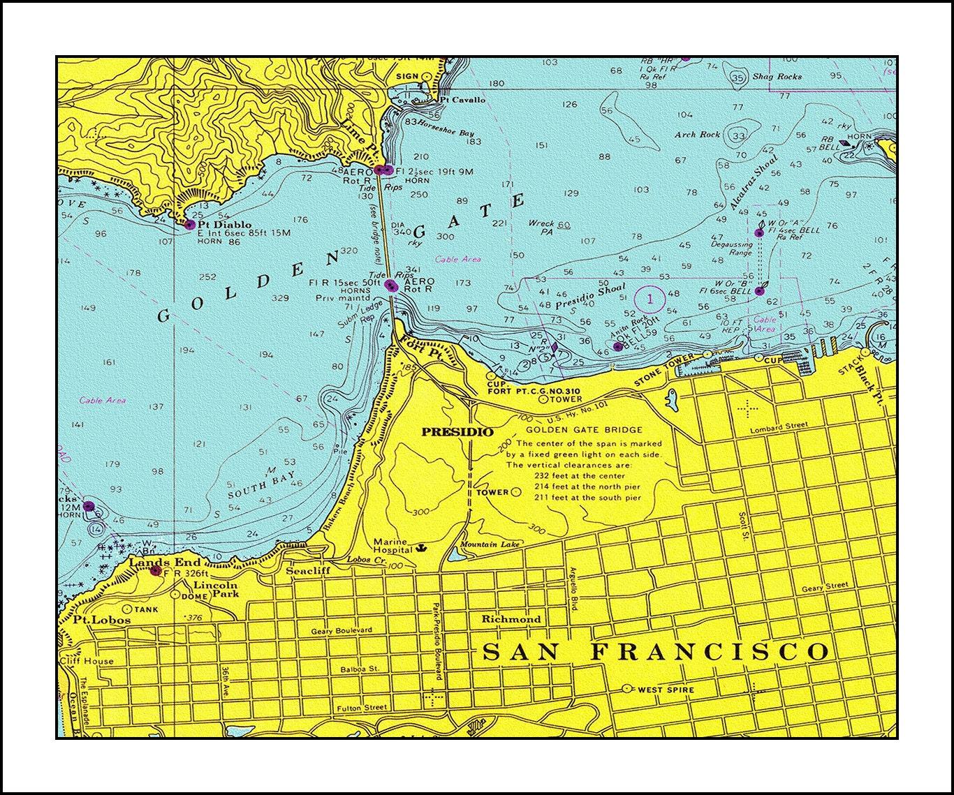 San Francisco Map Nautical Chart San Francisco Print