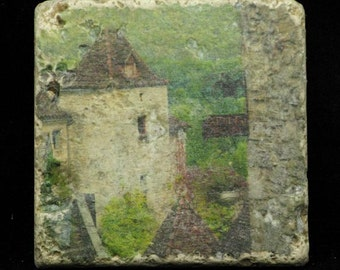 Set of 4 Marble Coasters - St Cirq View in France