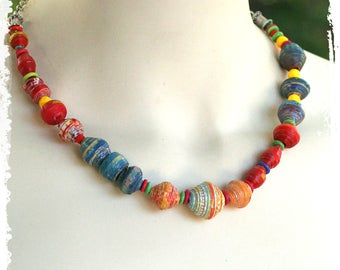 Bohemian Beaded Necklace, Boho Short Necklace, Colorful Tribal Necklace, Paper Anniversary Gift for Her, Artisan OOAK, Everyday Necklace