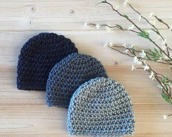 Set of 3 baby hats, preemie to toddler!