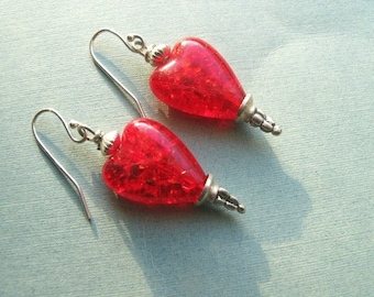 Red Heart Earrings, Heart Earrings,  Lampwork Beads,  Valentine's Day,  Sterling Earwires,  Gift for Her
