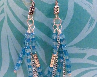Blue Diopside and Apatite on Sterling Silver Earrings - Dangling Tassels