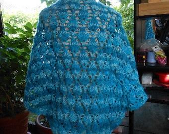 BLUE ANGORA SHAWL