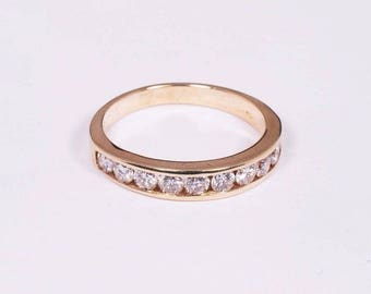 14K Yellow Gold Diamond Ring with 10 Diamonds 1ct. tw., Size 8.25