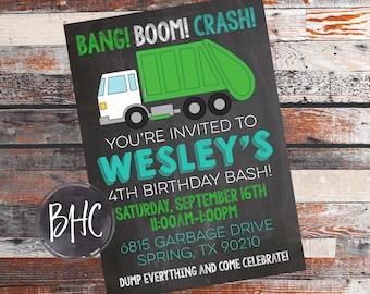 Garbage truck invite etsy garbage truck birthday party filmwisefo