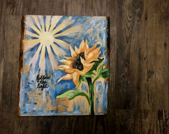 """Sunflower painting on wood with bark edging """"follow the light"""""""