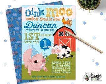 Farm Birthday Invitations invitation Pig Party cow rooster Boy Girl barn yard yellow red blue green custom Printable Diy first