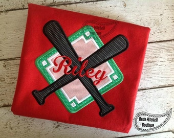 Baseball Diamond Bats applique
