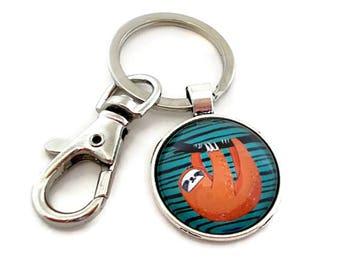 Cute Sloth Keychain, Animal Keychain, Orange and Blue, Metal Keychain, Key Holder, Key Chain, Sloth Gifts for Teen Girls, Backpack Charm