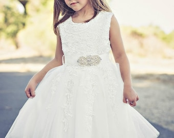 Flower Girl dress, lace flower girl dress,girls lace dress, baby white lace dress, tulle flower girl dress, birthday dress, first communion