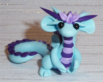 Fimo Spring Dragon Blue/polymer clay spring Dragon sculpture Light Blue