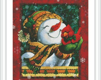 Snowman Counted Cross Stitch Pattern - Large Cross Stitch Chart - Christmas Cross Stitch - Cute Bird Cross Stitch - Printable PDF Download