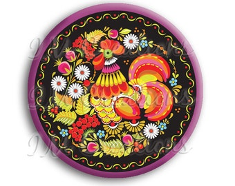 LIQUIDATION SALE! Russian Rooster Pocket Mirror, Magnet or Pinback - 2.25""