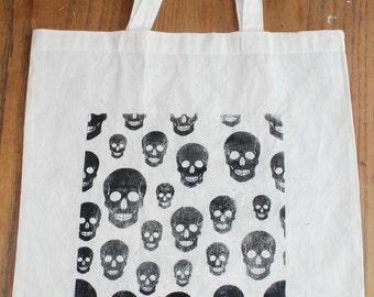 Skulls - handmade- Screen Printed -  Calico Tote Bag,