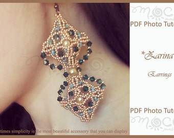Photo Tutorial ENG-ITA ,DIY Earrings,Zarina earrings,PDf Pattern 38 (with superduo,swarovski,pearls and seed beads)