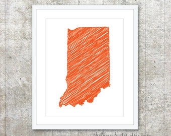 State of Indiana Art Print - Custom State Poster - Orange Tango - Modern Minimalist Wall Art
