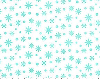 Snowflake Turquoise Flannel - Snow Bears by Deborah Edwards for Northcott - Flannel Fabric - Christmas Flannel  - Children Flannel