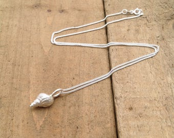 sterling silver shell necklace, solid silver shell necklace, hand made shell charm necklace