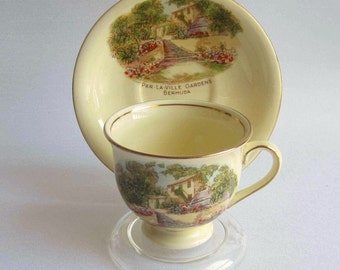 Royal Winton Bermuda Souvenir Demi Tasse Bone China Cup and Saucer - Made in England by Grimwades