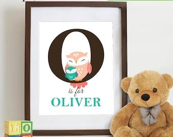 Owl Print, Owl  with name, owl family, Owl art, owls, Owl Nursery, Cute owl, Nursery Print, Item 0102