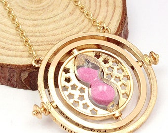 Miniature Pink Time Turner Inspired Hermione Harry Potter Deathly Hollows Gold Plate Necklace Chain Gryffindor Sand Charm Spinner handmade