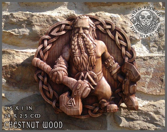 Viking Axe Odin Walknut Home Decor Art Norse Thor Wood Picture