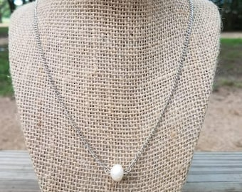White Freshwater Pearl Beaded Chain Necklace, Pearl Necklace, Pearl Long Chain Necklace, Fresh Water Pearl Necklace, White Freshwater Pearl