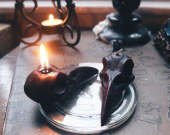 2 x Black Raven Skull Candles