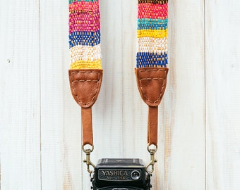 Camera Strap Madagascan for DSLR, Mirrorless & Film Cameras - Hand Made Double Sided Linen/Cotton Hand made to order Hippie * FREE SHIPING *
