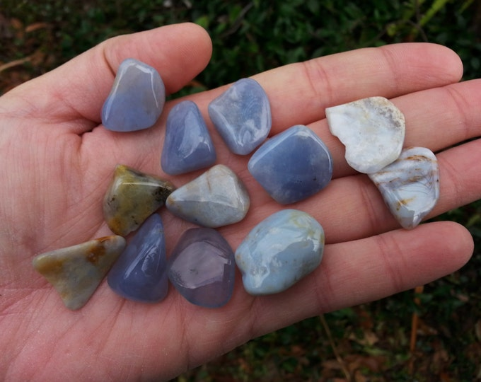 Blue Chalcedony ~ 1 small/medium Reiki infused tumbled stone