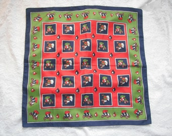 Vintage Antique Car Print Novelty Scarf Red Blue Green White Primary Colors Model T Silky Cars Bold Colorful